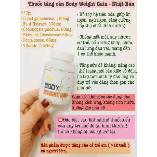 Công dụng của tăng cân body weight gain